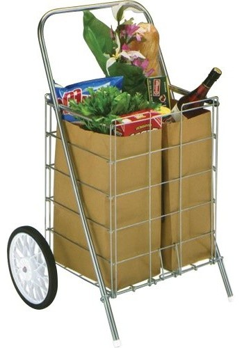 Small Tote Cart 2 Wheel White by HOMZ Contemporary Kitchen Islands And