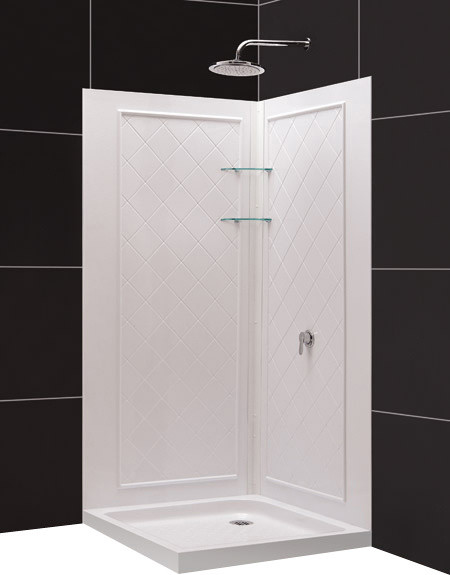 """DreamLine SlimLine 36"""" by 36"""" Double Threshold Shower Base and - Contemporary - Shower Stalls ..."""
