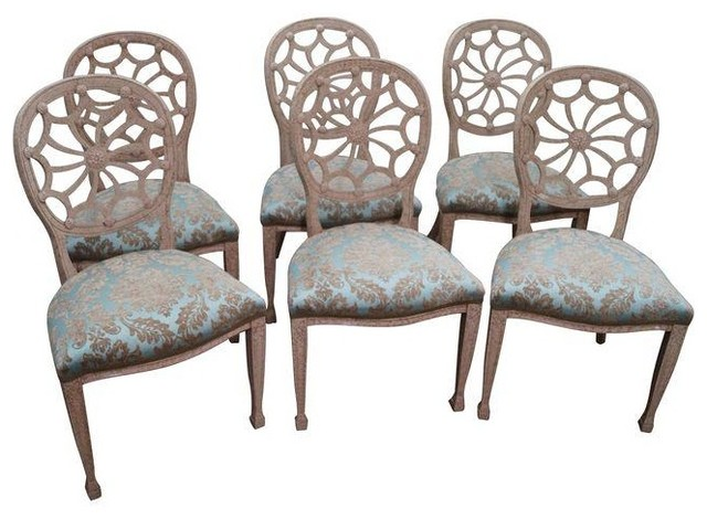 Faux Painted Spider Back Dining Chairs Set Of 6 Modern