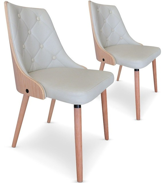 Lot de 2 chaises bicolores scandi cr me et ch ne style for Chaise salle a manger contemporaine