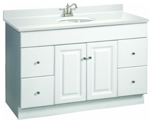 Wyndham White Semi-Gloss Vanity Cabinet with 2-Doors and 4-Drawers - Transitional - Bathroom ...