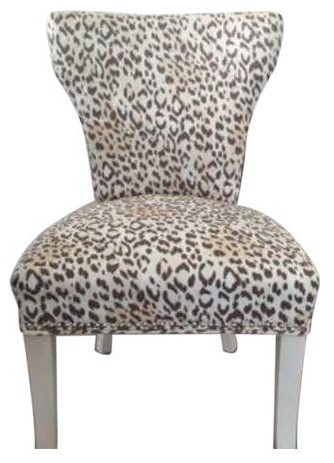 Leopard print upholstered chairs set of 4 modern for Printed upholstered dining chairs