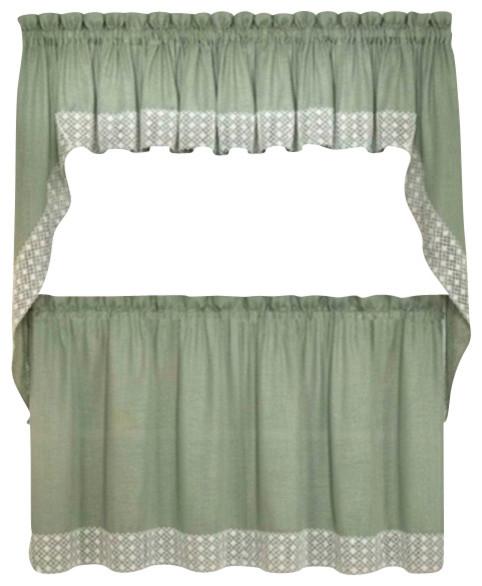 """Salem Kitchen Curtain, Sage, 24"""" Tier"""