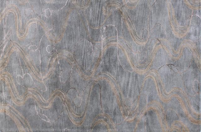 Greenwich Waves Area Rug Slate 2 6×8