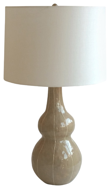 tall gourd lamp with large drum shade taupe contemporary table lamps. Black Bedroom Furniture Sets. Home Design Ideas