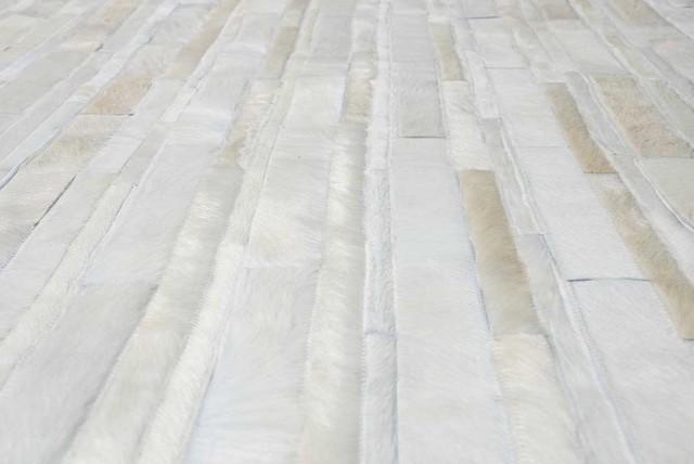 White Patchwork Cowhide Rug Stripes Design No 222