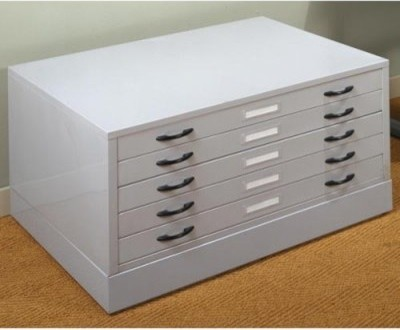 Studio Designs Light Grey Flat File with Optional Base - Modern - Filing Cabinets - by Hayneedle