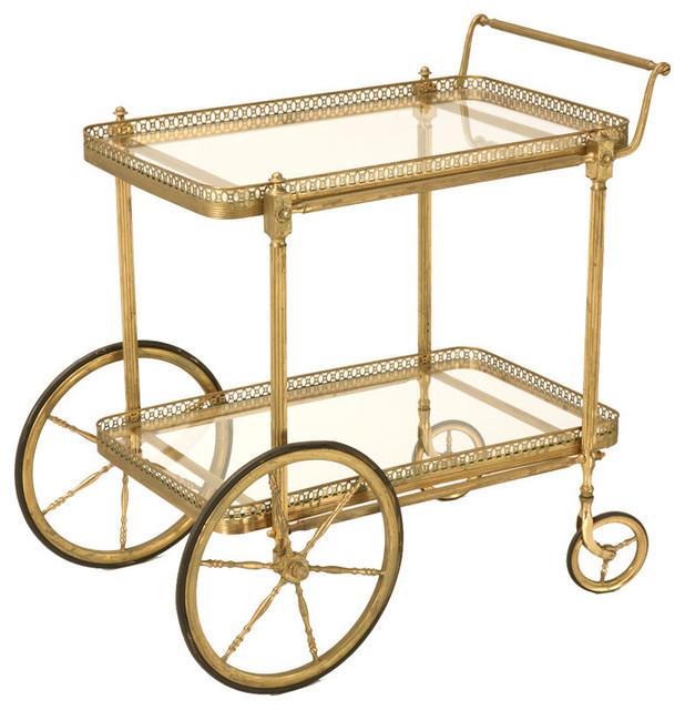 vintage french brass tea or bar cart classique desserte de bar par 1stdibs. Black Bedroom Furniture Sets. Home Design Ideas