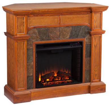Sei Cartwright Convertible Electric Fireplace Mission Oak