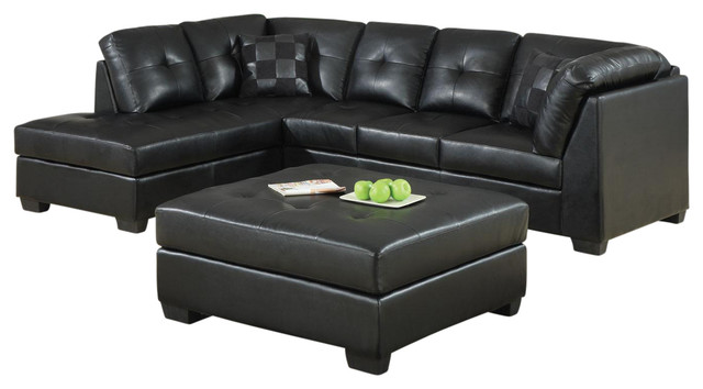 Black bonded leather upholstery sectional sofa with left for Bonded leather sectional with chaise
