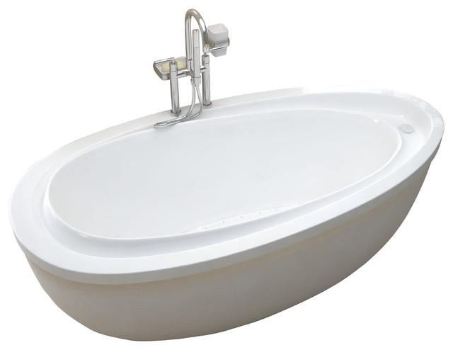 Venzi Tullia 38x71 Oval Freestanding Soaker Bathtub - Moderno - Vasche da bagno - di Luxvanity