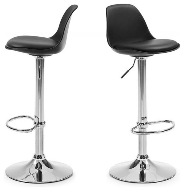 Lot de 2 tabourets de bar design ocala couleur noir - Tabouret de bar avec accoudoir ...