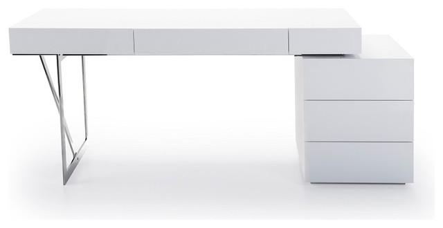 Loft Modern Office Desk in White Matte Finish modern-desks-and-hutches