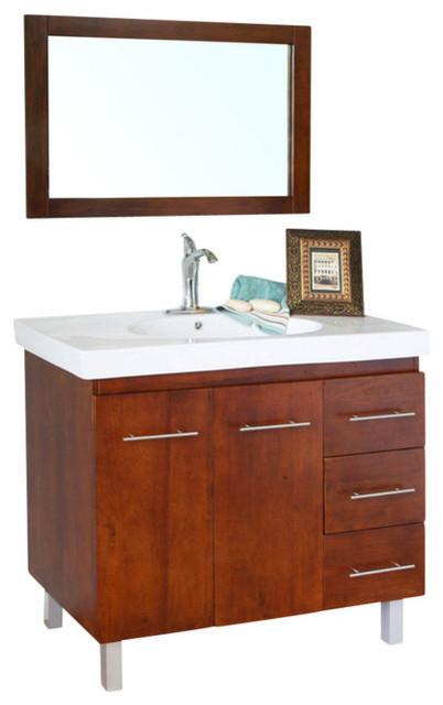 bellaterra 39 single sink vanity in wood walnut right side drawers contemporary bathroom. Black Bedroom Furniture Sets. Home Design Ideas