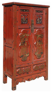 Gold Flower Painting Carving Armoire Red Chinese Antique Cabinet