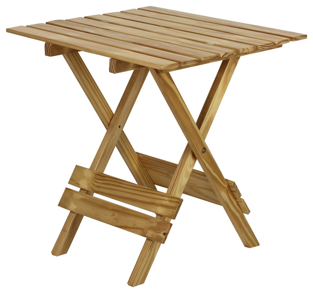 Quick Folding Small Table Made Of Solid Wood, Natural - Farmhouse - Folding Tables - by Casual Home