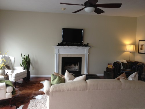Large wall small fireplace on a budget Decorate a large wall cheaply