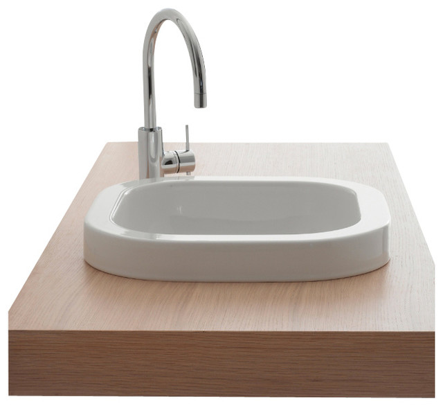 Square White Ceramic Built In Sink No Hole Contemporary