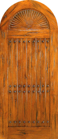 Prehung Round Top Carved Panel Plank Entry Door Knotty Alder Rustic Fro