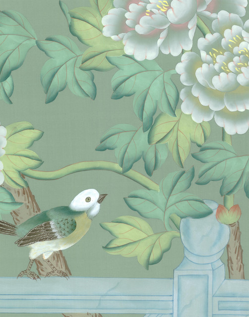 chinoiserie wall mural adriana green sample asiatique. Black Bedroom Furniture Sets. Home Design Ideas