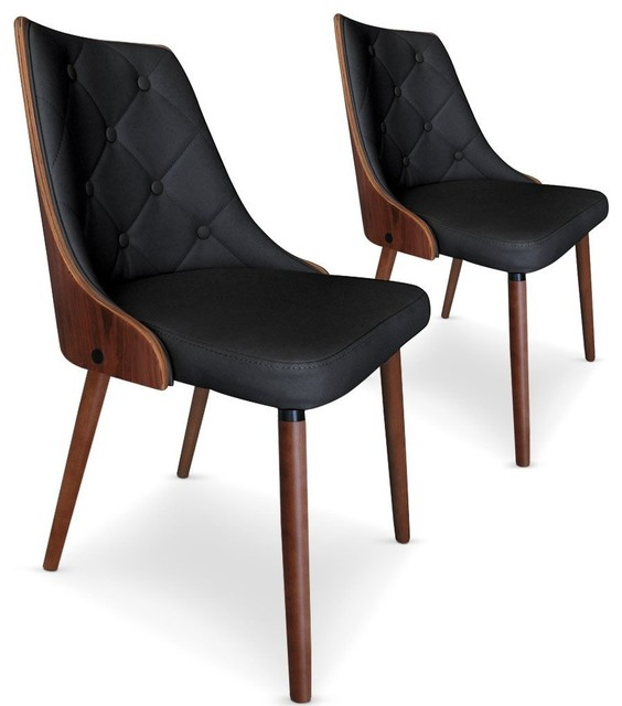 Lot de 2 chaises bicolores scandi noir et noisette style scandinave contemp - Chaises style scandinave ...
