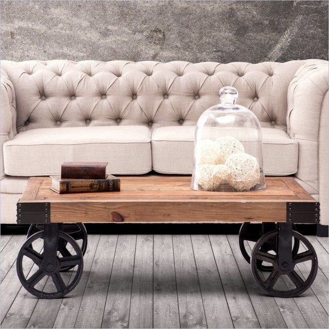 Metal Coffee Table Legs Vancouver: ZUO Barbary Coast Cart Coffee Table In Distressed Natural