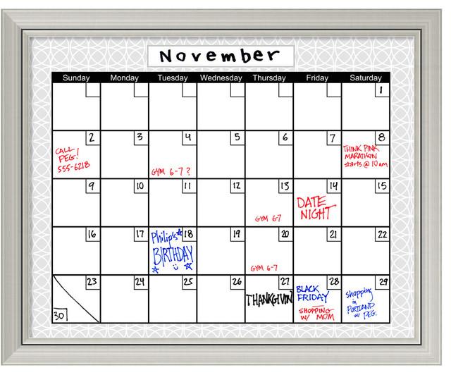 Office Calendar Board : Medallion gray dry erase board calendar framed art print
