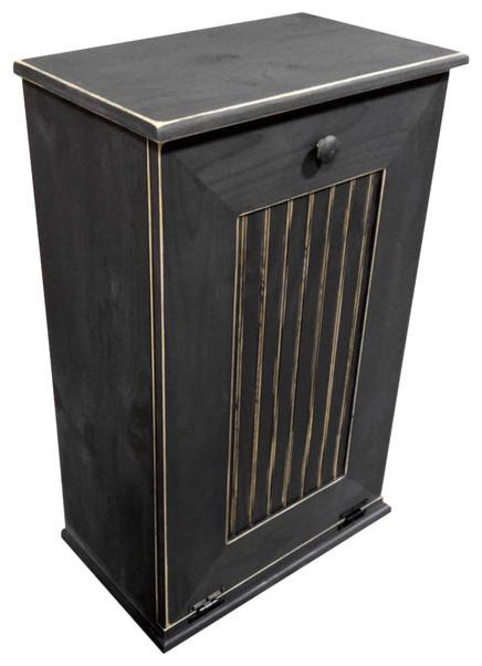 Wooden Trash Bin, Large, Old Red - Farmhouse - Trash Cans - by Sawdust City, LLC