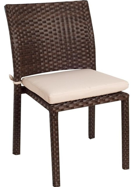 Atlantic Liberty Resin Wicker Stacking Patio Dining Side Chairs Set Of 4