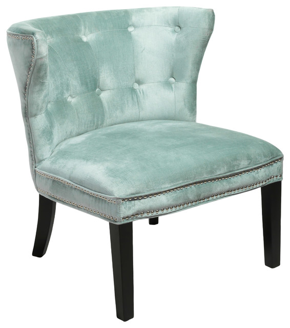 Rocio Seafoam Green Cotton Viscose Blend Fabric Accent Chair Seafoam Green
