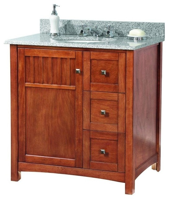 Simple Foremost KNCABK2522D Knoxville 25&quot W X 22&quot D Vanity In  Style Of The Arts And Crafts Movement This 36 Vanity With Black Granite Top Will Bring Those Rustic Design Qualities To Your Bathroom While At The Same Time Offering Generous