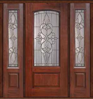 Prehung Sidelights Door 80 Fiberglass Courtlandt Arch Lite Glass Mediterran