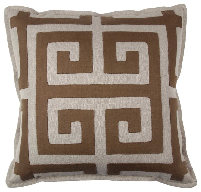 Greek Key Square Throw Pillow - Mediterranean - Decorative Pillows - san francisco - by Magnolia ...