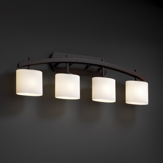 Justice design group 4 light arched oval opal dark bronze for 4 light bathroom fixture
