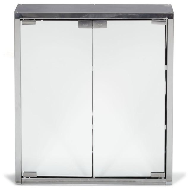 Zoom armoirette de salle de bains avec 2 portes miroir for Placard salle de bain miroir