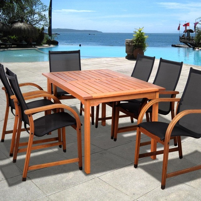 person sling patio dining set with stacking chairs modern dining sets