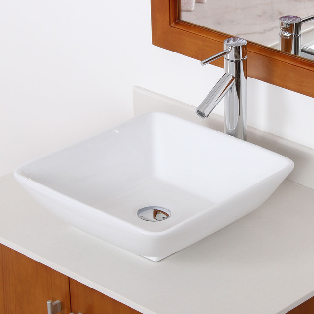Elite High Temperature Ceramic Square Bathroom Sink Chrome Faucet Combo C