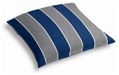 blue gray awning stripe custom outdoor floor pillow