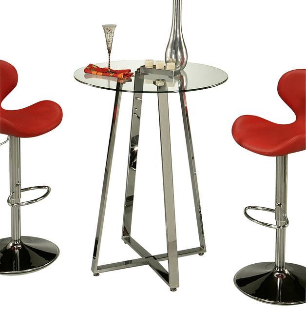 Pastel Nostalgia 36 Inch Round Glass Pub Table With Chrome