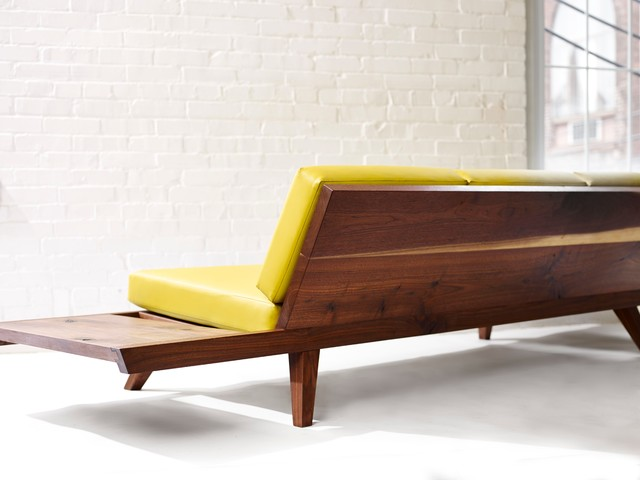 Midcentury Modern Sofa With Ottoman Side Tables And Custom Upholstery Midcentury Sofas