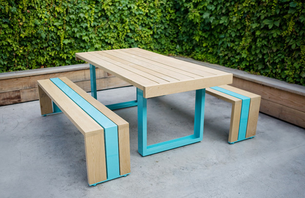 SR White Oak Table Set Modern Outdoor Dining Sets By