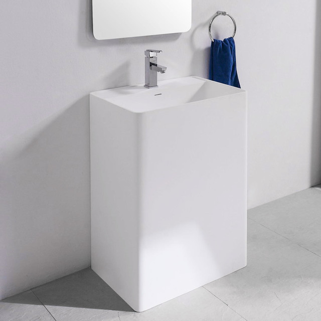 Resin Bathroom Sinks : ... Sink - Single Faucet Hole - Matte Finish traditional-bathroom-sinks
