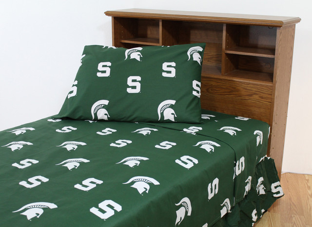 Michigan State Spartans Printed Sheet Set, Twin, Solid