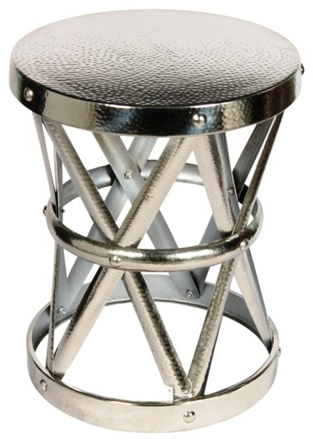 Hammered Drum Cross Table Stool Nickel Medium Silver Industrial Side Tables And End