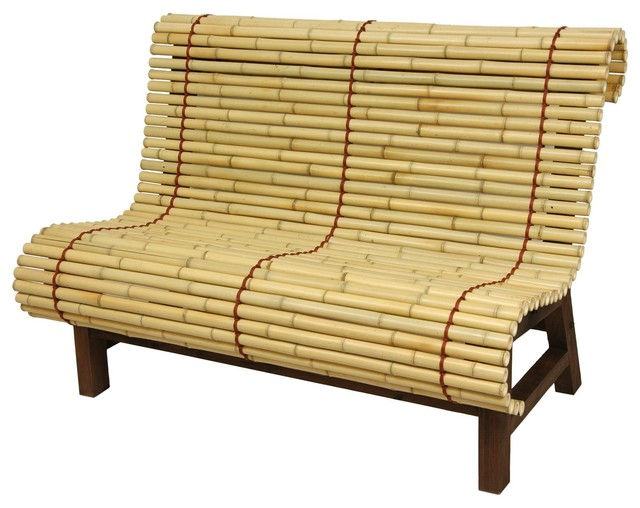 Curved Japanese Bamboo Bench Accent And Storage Benches