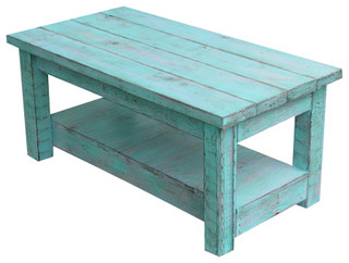Rustic Coffee Table With Shelf, Turquoise