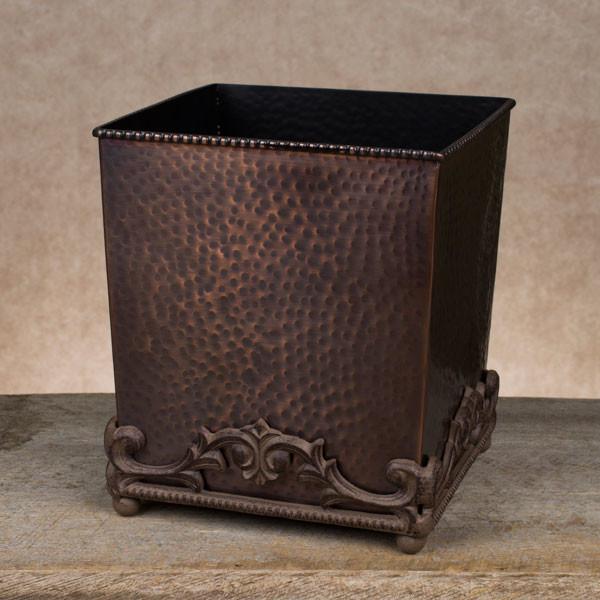 GG Antique Copper Hammered Metal Wastebasket - Rustic ...