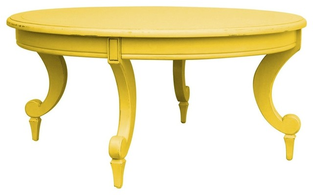 Coffee Table Painted Butternut Yellow Traditional Coffee Tables