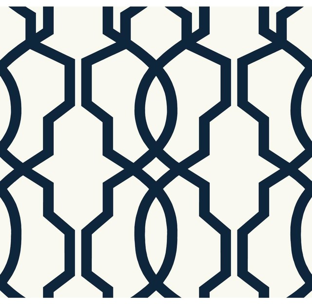 Geometric Hourglass Trellis Wallpaper Navy