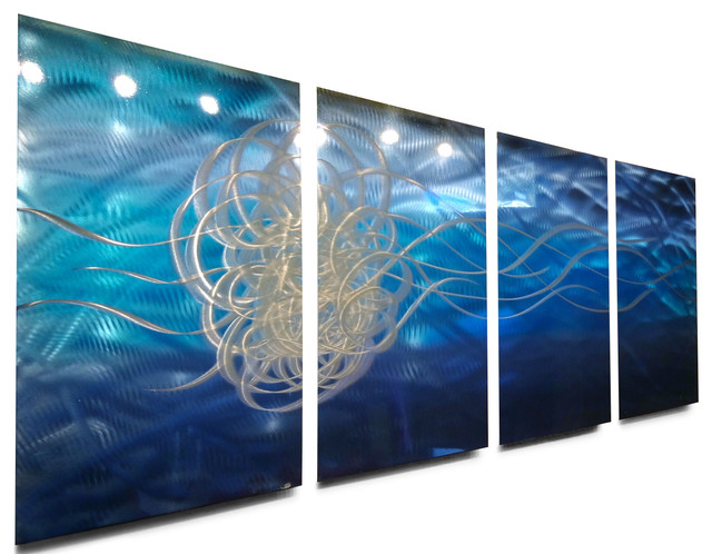 Metal Art Wall Art Decor Abstract Contemporary Modern Sculpture- Torrent Blue modern-wall-